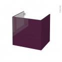 Meuble de salle de bains - Sous vasque - KERIA Aubergine - 2 tiroirs - Côtés décors - L60 x H57 x P50 cm