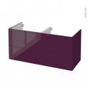 Meuble de salle de bains - Sous vasque double - KERIA Aubergine - 4 tiroirs - Côtés décors - L120 x H57 x P50 cm