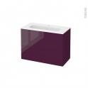 Meuble de salle de bains - Plan vasque REZO - KERIA Aubergine - 2 tiroirs - Côtés décors - L80,5 x H58,5 x P40,5 cm