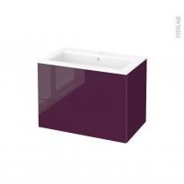 Meuble de salle de bains - Plan vasque NAJA - KERIA Aubergine - 2 tiroirs - Côtés décors - L80,5 x H58,5 x P50,5 cm