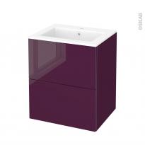 Meuble de salle de bains - Plan vasque NAJA - KERIA Aubergine - 2 tiroirs - Côtés décors - L60,5 x H71,5 x P50,5 cm