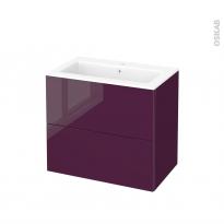 Meuble de salle de bains - Plan vasque NAJA - KERIA Aubergine - 2 tiroirs - Côtés décors - L80,5 x H71,5 x P50,5 cm