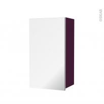 Armoire de salle de bains - Rangement haut - KERIA Aubergine - 1 porte miroir - Côtés décors - L40 x H70 x P27 cm