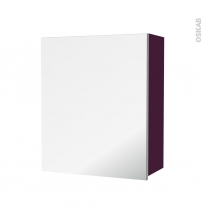 Armoire de salle de bains - Rangement haut - KERIA Aubergine - 1 porte miroir - Côtés décors - L60 x H70 x P27 cm
