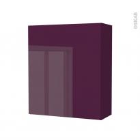 Armoire de salle de bains - Rangement haut - KERIA Aubergine - 1 porte - Côtés décors - L60 x H70 x P27 cm