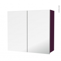 Armoire de salle de bains - Rangement haut - KERIA Aubergine - 2 portes miroir - Côtés décors - L80 x H70 x P27 cm