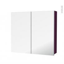 Armoire de toilette - Rangement haut - KERIA Aubergine - 2 portes miroir - Côtés décors - L80 x H70 x P17 cm