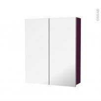 Armoire de toilette - Rangement haut - KERIA Aubergine - 2 portes miroir - Côtés décors - L60 x H70 x P17 cm