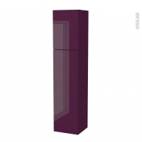 Colonne de salle de bains - 2 portes - KERIA Aubergine - Côtés décors - Version A - L40 x H182 x P40 cm