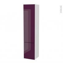 Colonne de salle de bains - 2 portes - KERIA Aubergine - Côtés blancs - Version B - L40 x H182 x P40 cm