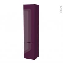 Colonne de salle de bains - 2 portes - KERIA Aubergine - Côtés décors - Version B - L40 x H182 x P40 cm
