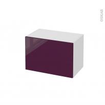 Meuble de salle de bains - Rangement bas - KERIA Aubergine - 1 tiroir - L60 x H41 x P37 cm
