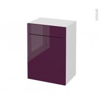 Meuble de salle de bains - Rangement bas - KERIA Aubergine - 1 porte 1 tiroir - L50 x H70 x P37 cm