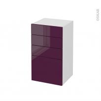 Meuble de salle de bains - Rangement bas - KERIA Aubergine - 4 tiroirs - L40 x H70 x P37 cm