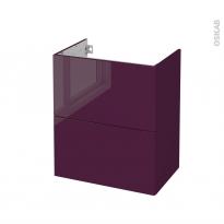 Meuble de salle de bains - Sous vasque - KERIA Aubergine - 2 tiroirs - Côtés décors - L60 x H70 x P40 cm