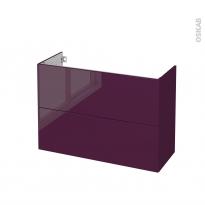 Meuble de salle de bains - Sous vasque - KERIA Aubergine - 2 tiroirs - Côtés décors - L100 x H70 x P40 cm