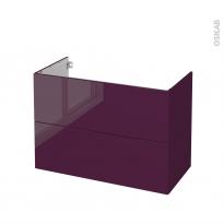 Meuble de salle de bains - Sous vasque - KERIA Aubergine - 2 tiroirs - Côtés décors - L100 x H70 x P50 cm