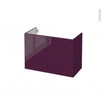 Meuble de salle de bains - Sous vasque - KERIA Aubergine - 2 portes - Côtés décors - L80 x H57 x P40 cm