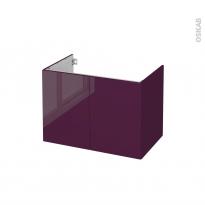 Meuble de salle de bains - Sous vasque - KERIA Aubergine - 2 portes - Côtés décors - L80 x H57 x P50 cm