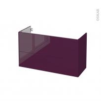 Meuble de salle de bains - Sous vasque - KERIA Aubergine - 2 tiroirs - Côtés décors - L100 x H57 x P40 cm