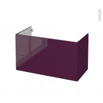 Meuble de salle de bains - Sous vasque - KERIA Aubergine - 2 tiroirs - Côtés décors - L100 x H57 x P50 cm