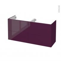Meuble de salle de bains - Sous vasque double - KERIA Aubergine - 4 tiroirs - Côtés décors - L120 x H57 x P40 cm