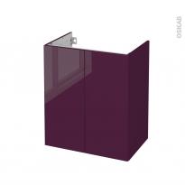 Meuble de salle de bains - Sous vasque - KERIA Aubergine - 2 portes - Côtés décors - L60 x H70 x P40 cm