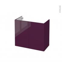 Meuble de salle de bains - Sous vasque - KERIA Aubergine - 2 portes - Côtés décors - L80 x H70 x P40 cm