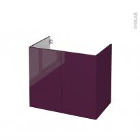 Meuble de salle de bains - Sous vasque - KERIA Aubergine - 2 portes - Côtés décors - L80 x H70 x P50 cm