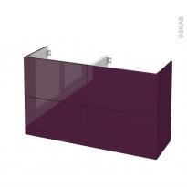 Meuble de salle de bains - Sous vasque double - KERIA Aubergine - 4 tiroirs - Côtés décors - L120 x H70 x P40 cm