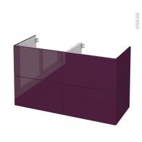 Meuble de salle de bains - Sous vasque double - KERIA Aubergine - 4 tiroirs - Côtés décors - L120 x H70 x P50 cm