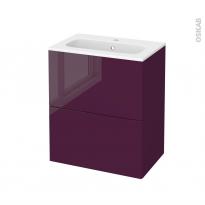 Meuble de salle de bains - Plan vasque REZO - KERIA Aubergine - 2 tiroirs - Côtés décors - L60,5 x H71,5 x P40,5 cm