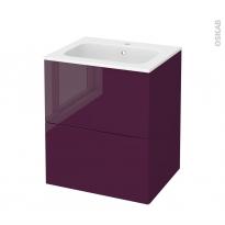 Meuble de salle de bains - Plan vasque REZO - KERIA Aubergine - 2 tiroirs - Côtés décors - L60,5 x H71,5 x P50,5 cm