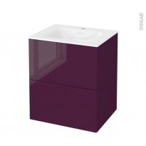 Meuble de salle de bains - Plan vasque VALA - KERIA Aubergine - 2 tiroirs - Côtés décors - L60,5 x H71,2 x P50,5 cm
