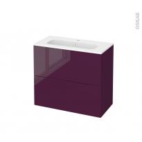 Meuble de salle de bains - Plan vasque REZO - KERIA Aubergine - 2 tiroirs - Côtés décors - L80,5 x H71,5 x P40,5 cm