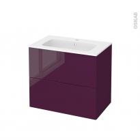 Meuble de salle de bains - Plan vasque REZO - KERIA Aubergine - 2 tiroirs - Côtés décors - L80,5 x H71,5 x P50,5 cm