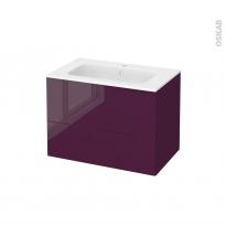 Meuble de salle de bains - Plan vasque REZO - KERIA Aubergine - 2 tiroirs - Côtés décors - L80,5 x H58,5 x P50,5 cm