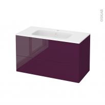 Meuble de salle de bains - Plan vasque REZO - KERIA Aubergine - 2 tiroirs - Côtés décors - L100,5 x H58,5 x P50,5 cm