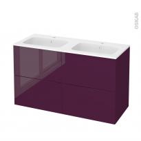Meuble de salle de bains - Plan double vasque REZO - KERIA Aubergine - 4 tiroirs - Côtés décors - L120,5 x H71,5 x P50,5 cm