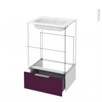 Tiroir sous meuble - Socle n°51 - KERIA Aubergine - pour meuble salle de bains - L60 x H26 x P45 cm