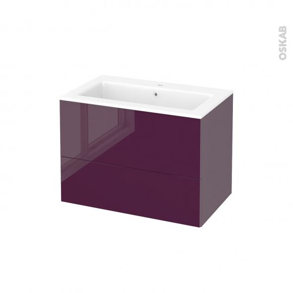 meuble de salle de bains plan vasque naja keria aubergine. Black Bedroom Furniture Sets. Home Design Ideas