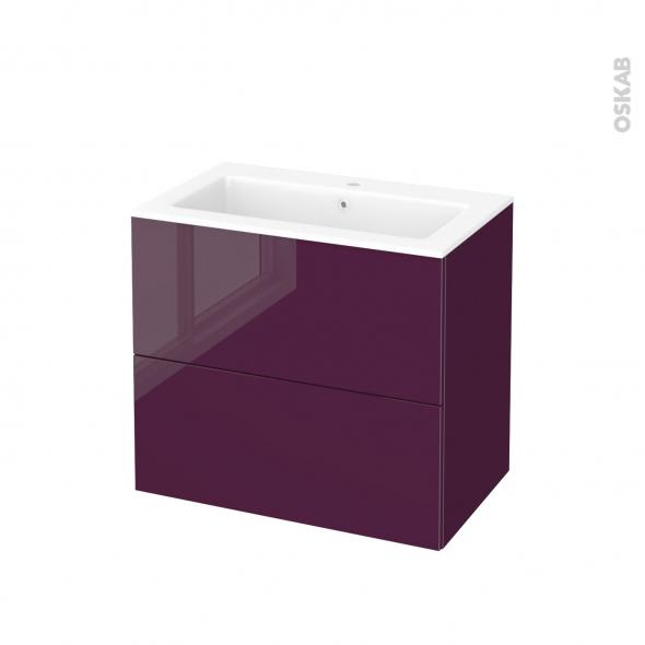 Meuble de salle de bains Plan vasque NAJA KERIA Aubergine, 2 tiroirs, Côtés  décors, L80,5 x H71,5 x P50,5 cm