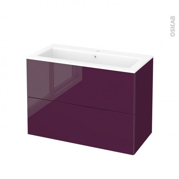 Meuble de salle de bains - Plan vasque NAJA - KERIA Aubergine - 2 tiroirs - Côtés décors - L100,5 x H71,5 x P50,5 cm