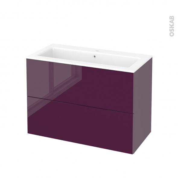 Meuble de salle de bains plan vasque naja keria aubergine - Cuisiner l aubergine facile ...