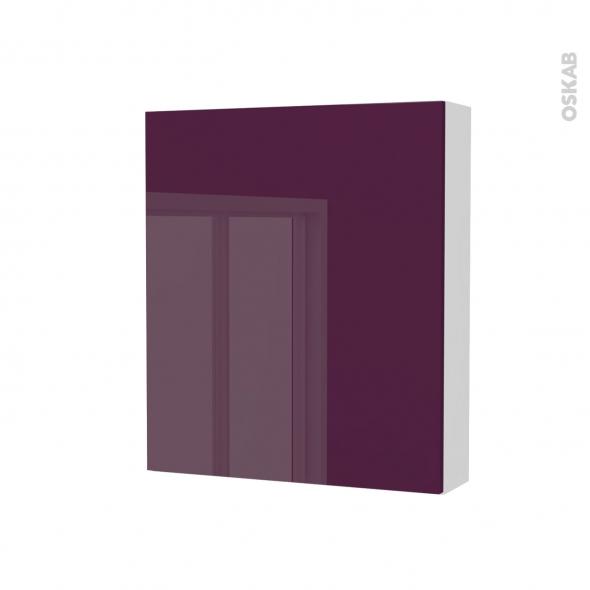 Armoire de toilette - Rangement haut - KERIA Aubergine - 1 porte - Côtés blancs - L60 x H70 x P17 cm