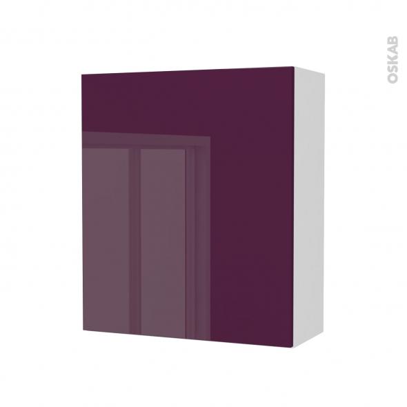 Armoire de salle de bains - Rangement haut - KERIA Aubergine - 1 porte - Côtés blancs - L60 x H70 x P27 cm