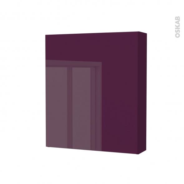 Armoire de toilette - Rangement haut - KERIA Aubergine - 1 porte - Côtés décors - L60 x H70 x P17 cm