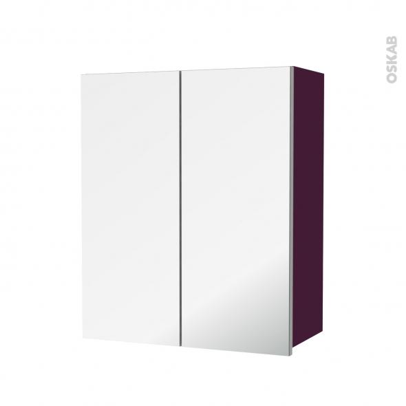 Armoire de salle de bains - Rangement haut - KERIA Aubergine - 2 portes miroir - Côtés décors - L60 x H70  xP27 cm