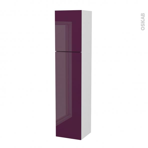 Colonne de salle de bains - 2 portes - KERIA Aubergine - Côtés blancs - Version A - L40 x H182 x P40 cm