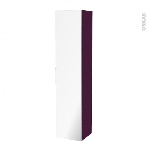 Colonne de salle de bains - 1 porte miroir - KERIA Aubergine - Côtés décors - L40 x H182 x P40 cm